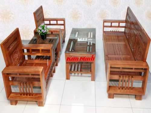 Bàn ghế salon gỗ gụ tay 12 - Nội Thất Kim Minh Cao Cấp