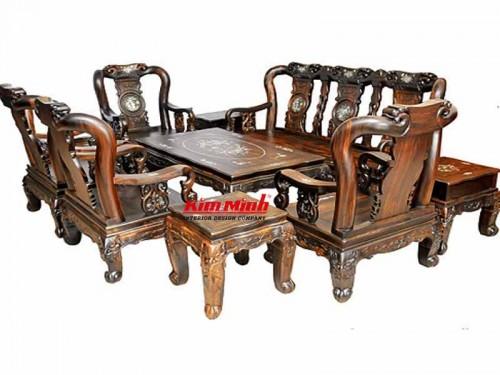 Ghế salon gỗ mun TPHCM - Bàn Ghế Gỗ Phòng Khách Giá Rẻ Bền Đẹp