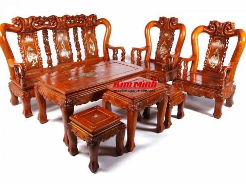 Ghế salon gỗ trắc - Nội Thất Phòng khách Kim Minh Chất Lượng Cao