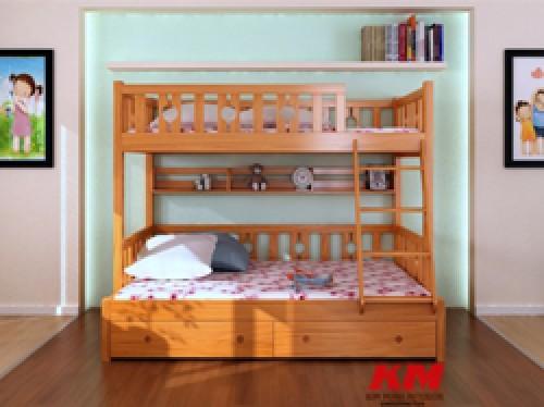 Giường 2 Tầng Trẻ Em Gỗ Tự Nhiên GNT067