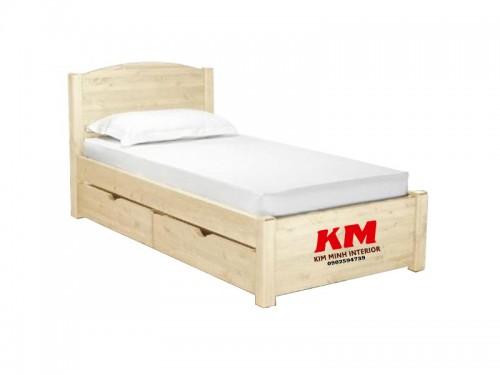 Giường đơn gỗ sồi có hộc tủ GD002