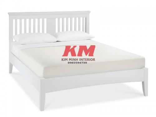 Giường Ngủ Gỗ Sồi Hiện Đại Màu Trắng GNS088