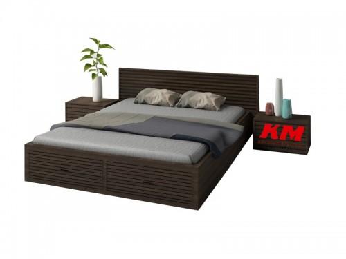 Giường Ngủ Hiện Đại Màu Nâu Đen Sang Trọng GNHD021