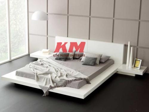 Giường Ngủ Kiểu Nhật 1M6 Màu Trắng Gỗ Xoan Đào GNKN014