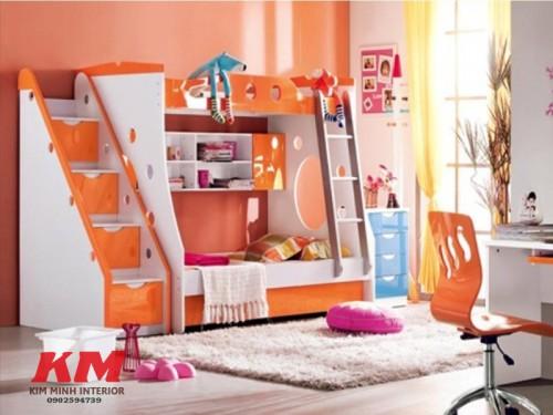 Giường ngủ trẻ em 2 tầng màu cam GNTE038