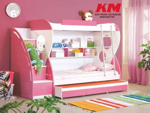 Giường ngủ trẻ em 2 tầng màu hồng GNTE028