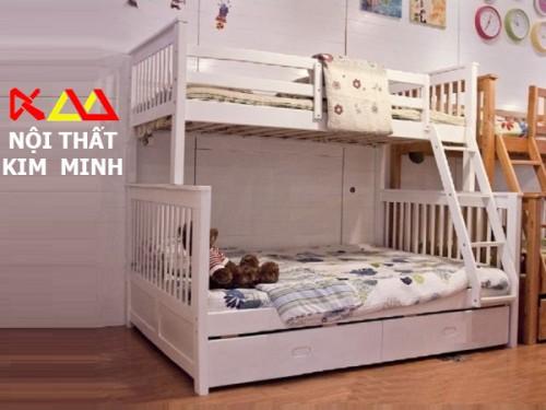 Giường ngủ trẻ em gỗ xoan đào 2 tầng GNTE006