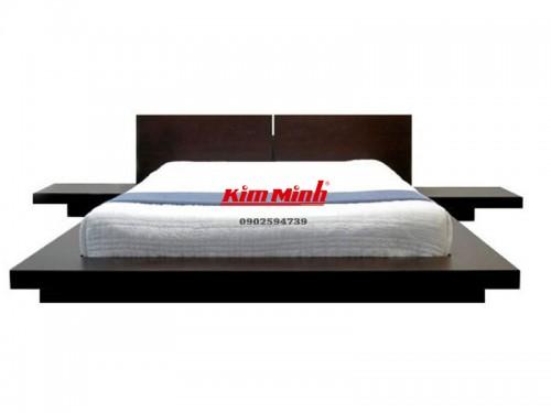 Giường Nhật Gỗ Xoan Đào Đen Bóng Sang Trọng GNKN034