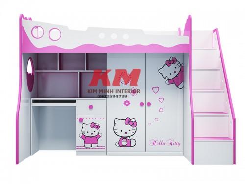 Giường Tầng Trẻ Em 3 Trong 1 Hello Kitty GTTE093
