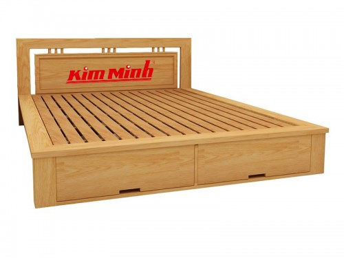Mẫu Giường Đẹp Có Tủ Cuối Giường Gỗ Sồi GND017