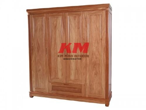 Tủ áo gỗ căm xe 4 cánh 2m