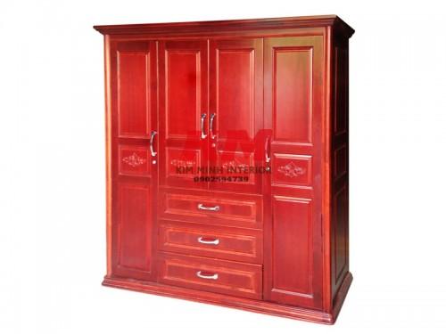 Tủ Áo Gỗ Xoan Đào 1m8 4 Cánh Màu Nâu Đỏ
